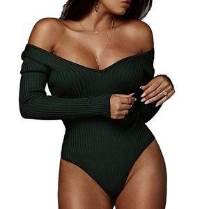 Tops - Off the shoulder knit ribbed long sleeve bodysuit
